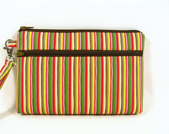 Stripes cosmetic bag, gift for her, makeup pouch, smartphone wristlet, coin purse
