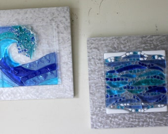 Stained Glass, Fused Glass, Wave, Water, Ocean, Surf, Beach, Shoreline, Turqouise