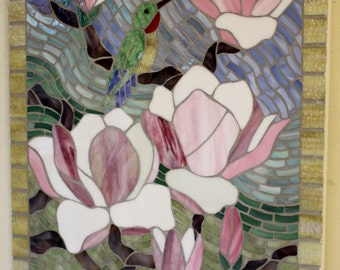 Stained Glass, Mosaic Art, Beautiful Pink Magnolias, Flowers, Hummingbird, Floral