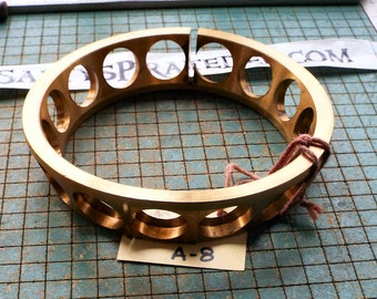 Big Brass Bearing Cage, industrial paperweight, 6 3/4, funnel shape, Single Row Ball Bearing, found metal sculpture, steampunk, damaged A8