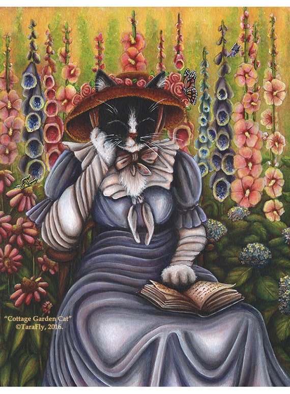Cottage Garden Cat Reading Book 5x7 Fine Art Print