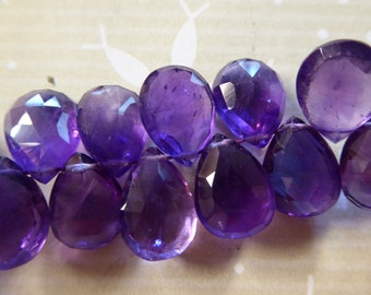 Shop Sale.. 2 6 12 pc, PURPLE AMETHYST Pear Briolette, Luxe AAA, 7-9 mm, Royal Purple, faceted, february birthstone wholesale 79 solo tr
