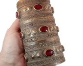 Kuchi Cuff Bracelet, Vintage Bracelet, Red Jewels, Silver Boho, Wide Bracelet, Big Statement, Turkmen, Gypsy Ethnic, Afghan, Bohemian #2