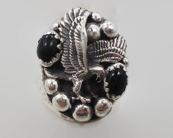 Eagle Ring, Black Onyx, Sterling Silver, Native American, Vintage Ring, Bird, Heavy, Big Statement, Mans Mens, Country Western, Southwestern