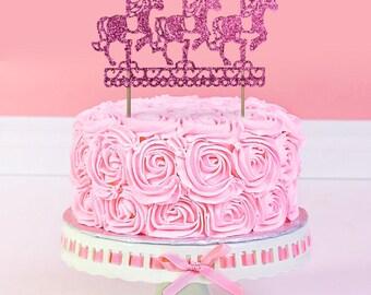 carousel cake topper Glitter  in any colour glitter