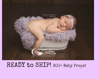 Vegan Flokati Newborn Photo Props Fur RTS Pastel Purple Faux Lilac Frost Purple BaSkeT StuFFeR Baby Photography Props, Soft, Baby Whisperer
