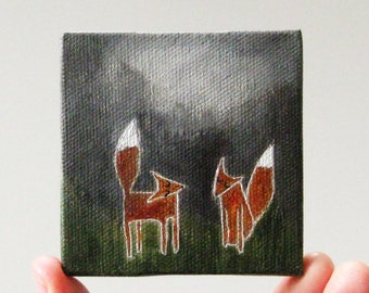summer nights / small painting on canvas