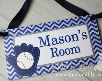 Baseball Blue Chevron Sports Boys Bedroom Personalized Name Sign Wall Art DOOR SIGN DS0412