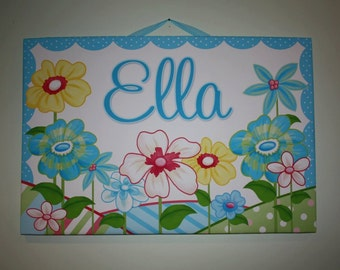 Personalized Blue Flower Stretched Canvases Girls Bedroom CANVAS Bedroom Wall Art CS0051