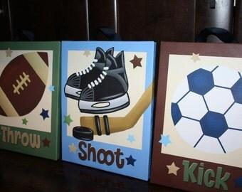 Set of 3 Sports Throw, Shoot, Kick Baby Boy Nursery Art on Stretched CANVAS 3CS026