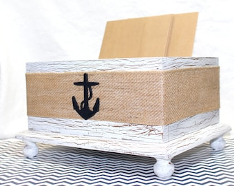 Wedding Card BOX,  Navy Anchor Card Box, Nautical card box, Burlap Card Box, Anchor Wedding, Rustic Card Box, White Card Box, Custom colors