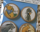 Set of 4 Vintage Style Circle Wooden Magnets WINNIE the POOH