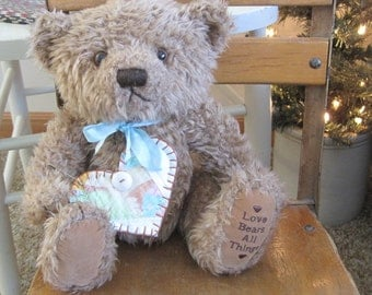 GUSTAV the Repurposed Sweet Vintage Bear Love for Valentines Day