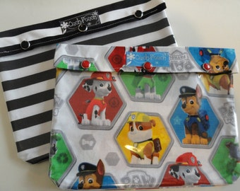 Ouch Pouch XL 2 Pack Clear Front Organizers for Meds Diapers Toiletries First Aid New Baby Airport Friendly (7x9 You Choose Fabric/Label )