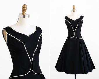 vintage 1950s dress / 50s dress / Audrey Hepburn Black Party Dress with White Trim