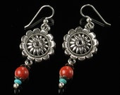 Southwest Earrings, Concho Earrings, Unique Boho Jewelry, Red & Turquoise Silver Statement Earrings, Handmade Gift for Her, Women, Wife, Mom