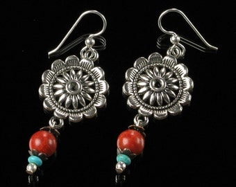 Southwest Earrings, Concho Earrings, Unique Boho Jewelry, Red & Turquoise Silver Statement Earrings, Handmade Gift for Women, Wife, Mom