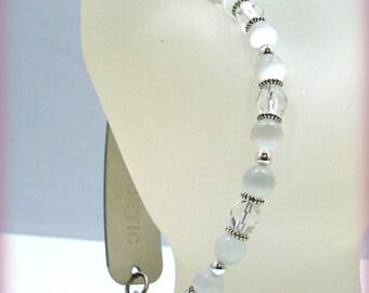 White Cats Eye Glass Beaded Medical ID Bracelet