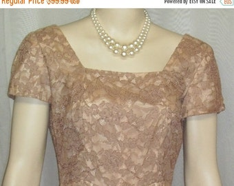 Spooktacular SALE Vintage 1940's Norman Original Lace Overlay Cocktail Dress Beige Nude Small Medium