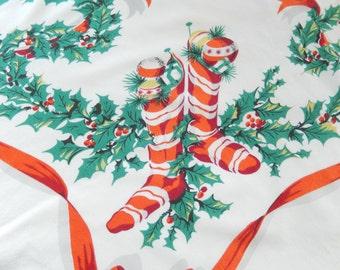 "vintage Christmas tablecloth, 1950s, Simtex, 58"" x 53"", rectangular, striped Christmas stockings, vintage table linens"