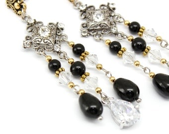 Chandelier  Earrings, Long Earrings Black Pearl Gold Silver Post, Swarovski Crystal, Cubic Zirconia Bridal Earrings, Wedding Jewelry,