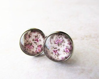 Pink Rose Flower Glass Dome Stud Post Earrings