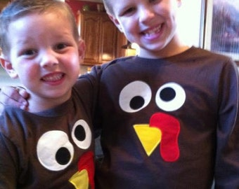 Boutique Custom Personalized Turkey Face shirt Boys or girls
