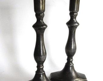 Vintage Pair of Pewter Candle Stick Holders