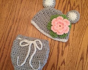 Crochet Baby Girl Bear Set