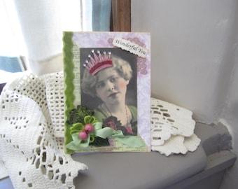 Handmade Inspirational Card - Friendship Card - Vintage Lady Card