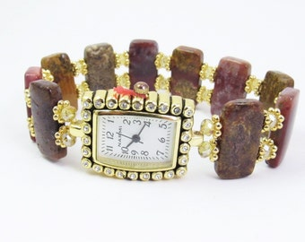 Beaded Bracelet Watch - Agua Nueva Agate and Champagne Faceted Crystal Glass Stretchy Bracelet Watch