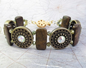 Bronzite and Antique Gold Bracelet or Medical ID Bracelet or Interchangeable Watch Band