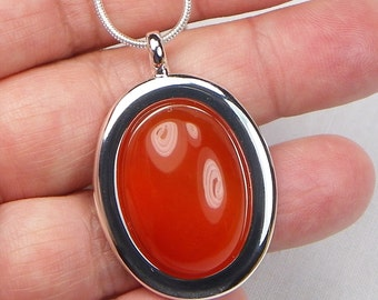 Carnelian Necklace - Cabochon Necklace - Gift For Her - Genuine Gemstone - Gemstone Jewelry - Gemstone Pendant