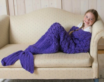 Adult and Child Mermaid Tail Blanket, Mermaid Tail Throw Blanket