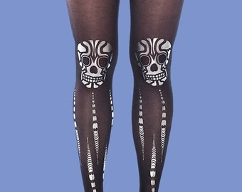 Skulls tights, gift ideas, Christmas gift sheer black tights, women tights, available in S-M, L-XL