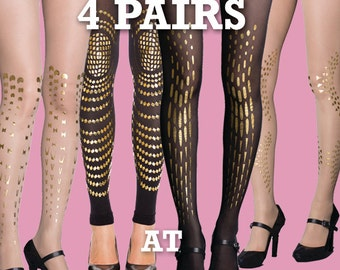 Sale! Save 20% off on 4 pairs of printed tights, choose from our nylon collections