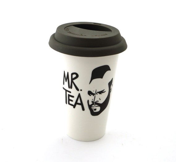 Mr T Tea Travel Mug Double Walled Porcelain Eco cup with Lid Kiln Fired, grey silicon lid, great gift for Dad, him, tea lover