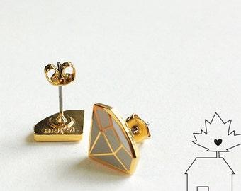14K Gold Plated Diamond Ear Studs