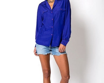 35% OFF SUMMER SALE The Vintage Purple Christian Dior Button Up Blouse