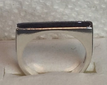 Cremation Ash Jewelry  STERLING SILVER square top channel ring  Pet Memorial
