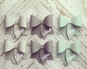 1 Dozen Paper Bows Mint/Grey