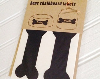 Get Organized SALE- SALE- 8 Peel and Stick Bone Chalkboard Labels, Dog Bone Chalk Labels, Pet Canister Labels, Chalkboard Stickers