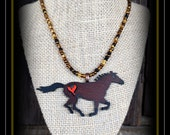 Rustic Metal Horse With Glass Seed Bead Necklace