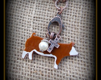 Glass Hereford Show Hog, Pig  on Long Boho Style leather &  Glass  Bead Chain, Necklace approx 24""