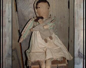 Primitive folk art simple prairie doll rag dolly hand embroidered HAFAIR faap ofg