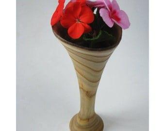Trumpet Vase, Staghorn Sumac with natural bark-edged rim
