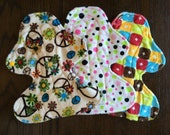 """Set of Three 11"""" Heavy Flow Postpartum Reusable Cloth Pad ~ Garnet, Pink and Lime Dot, and Groovy Minky ~ by Talulah Bean"""