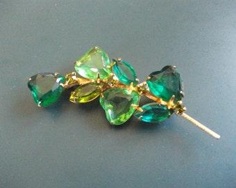 Vintage Green Glass Rhinestone Hearts Brooch Pin