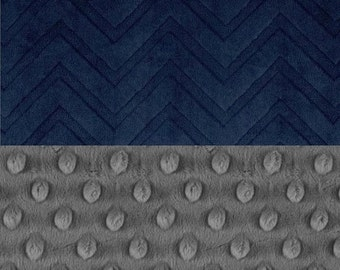 SALE Minky Boy Baby Blanket,  Personalized Charcoal Gray & Navy Embossed Chevron Stroller