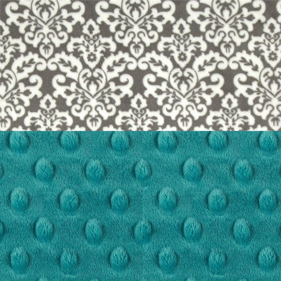 Minky Baby Blanket, Teal Blue Personalized Baby Blanket, Baby Girl Gray Damask Blanket, Girl Baby Blanket Name Baby Blanket Baby shower gift